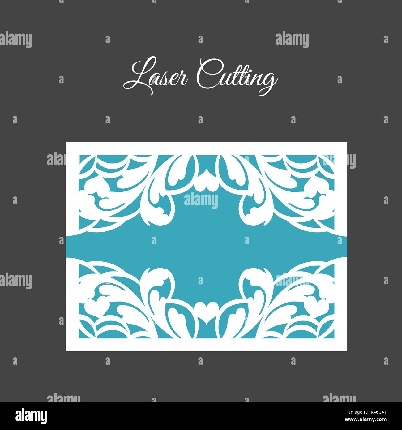 DIY Template for laser cutting. Open card. The front and rear side. vector can be used as an envelope. - Stock Vector