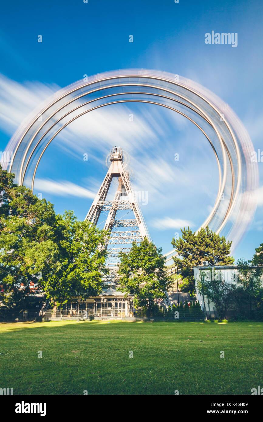 Wiener Riesenrad, Long exposure of famous ferris wheel at Prater in Vienna Austria - Stock Image