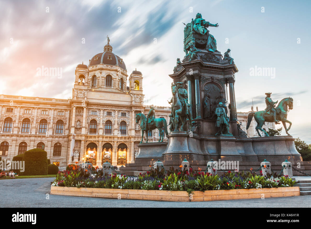 Museum of natural history Vienna Austria at sunset - Stock Image