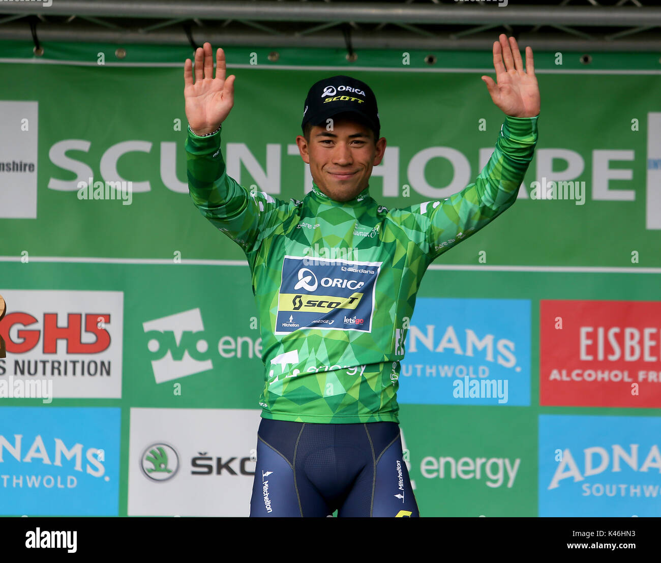 best authentic f30f4 e1fa3 Caleb Ewan of Orica Scott wearing the green Jersey after ...