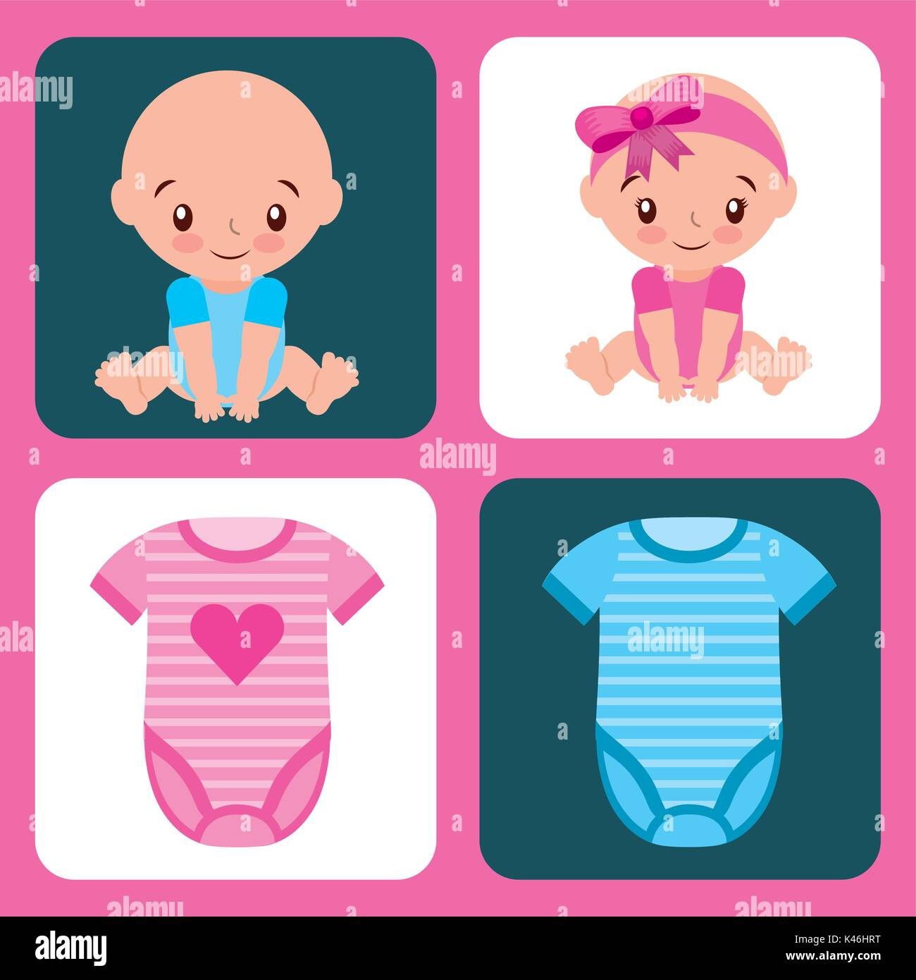 80ae91c08 cute set for baby shower girl and boy clothes Stock Vector Art ...