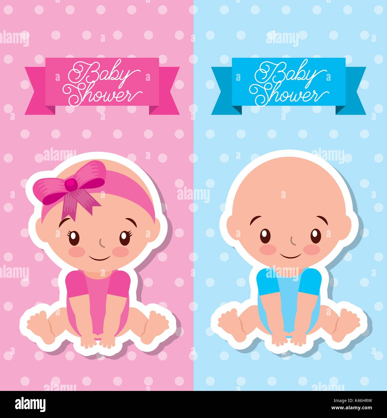 Baby shower greeting card with boy and girl stock vector art baby shower greeting card with boy and girl m4hsunfo
