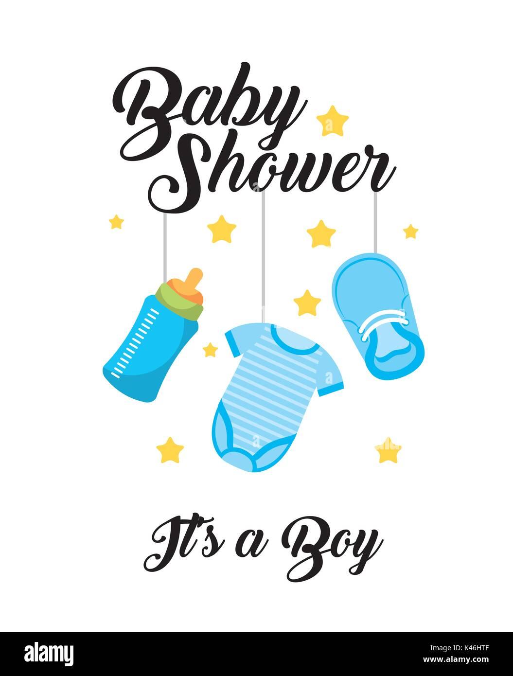 b34e946b8 baby shower its a boy clothes bottle shoe hang decoration card Stock ...