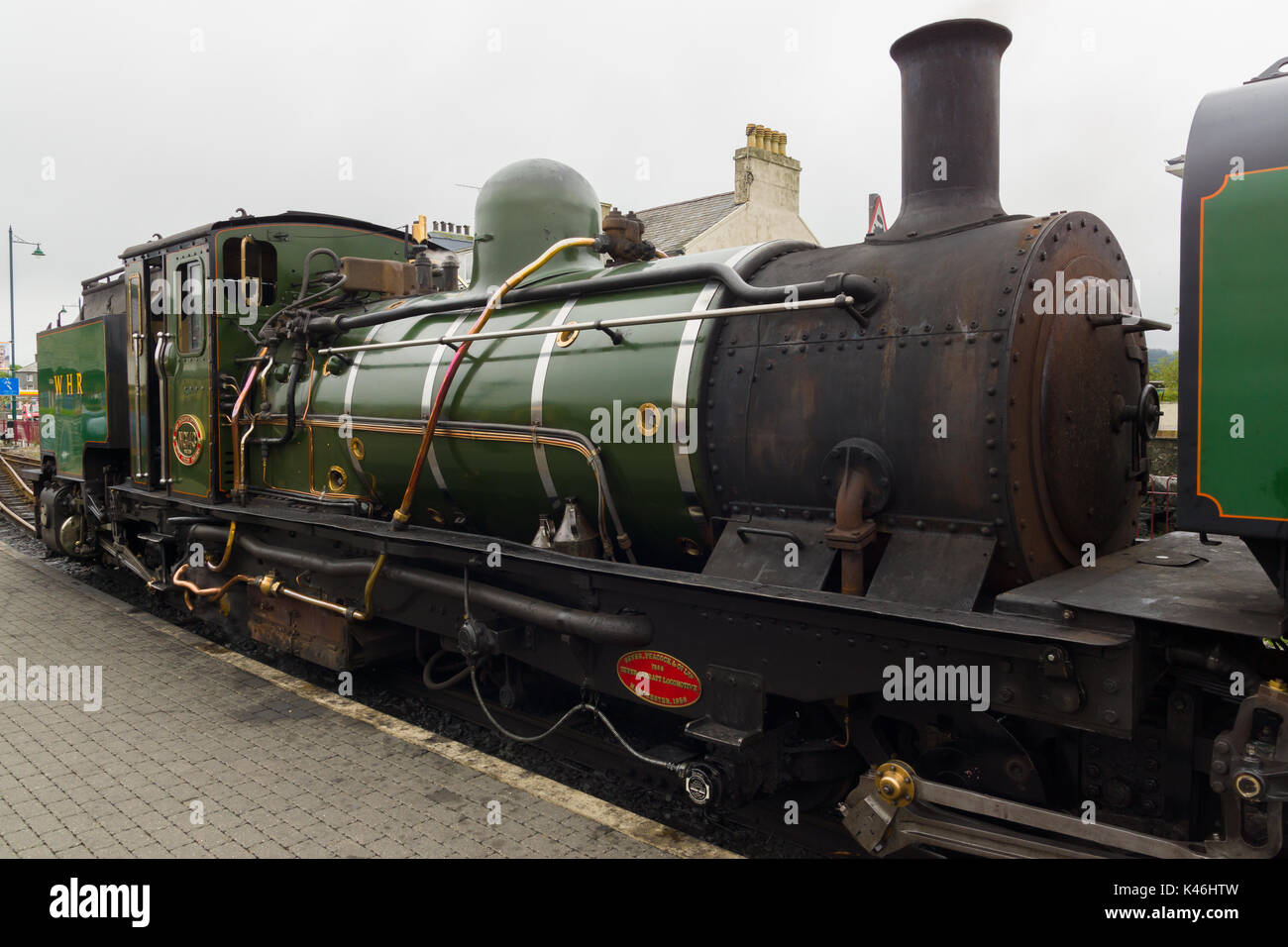 Ex-South African Railways NGG16 class narrow gauge Beyer Peacock steam locomotive number NG143 operated on the Welsh Highland Railway - Stock Image