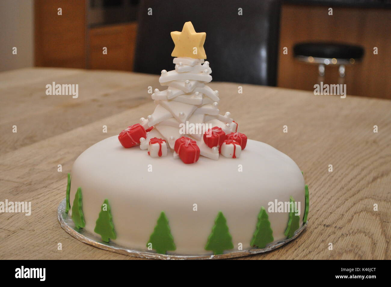 Homemade Christmas Cake Decorated With A Fondant Christmas Tree And