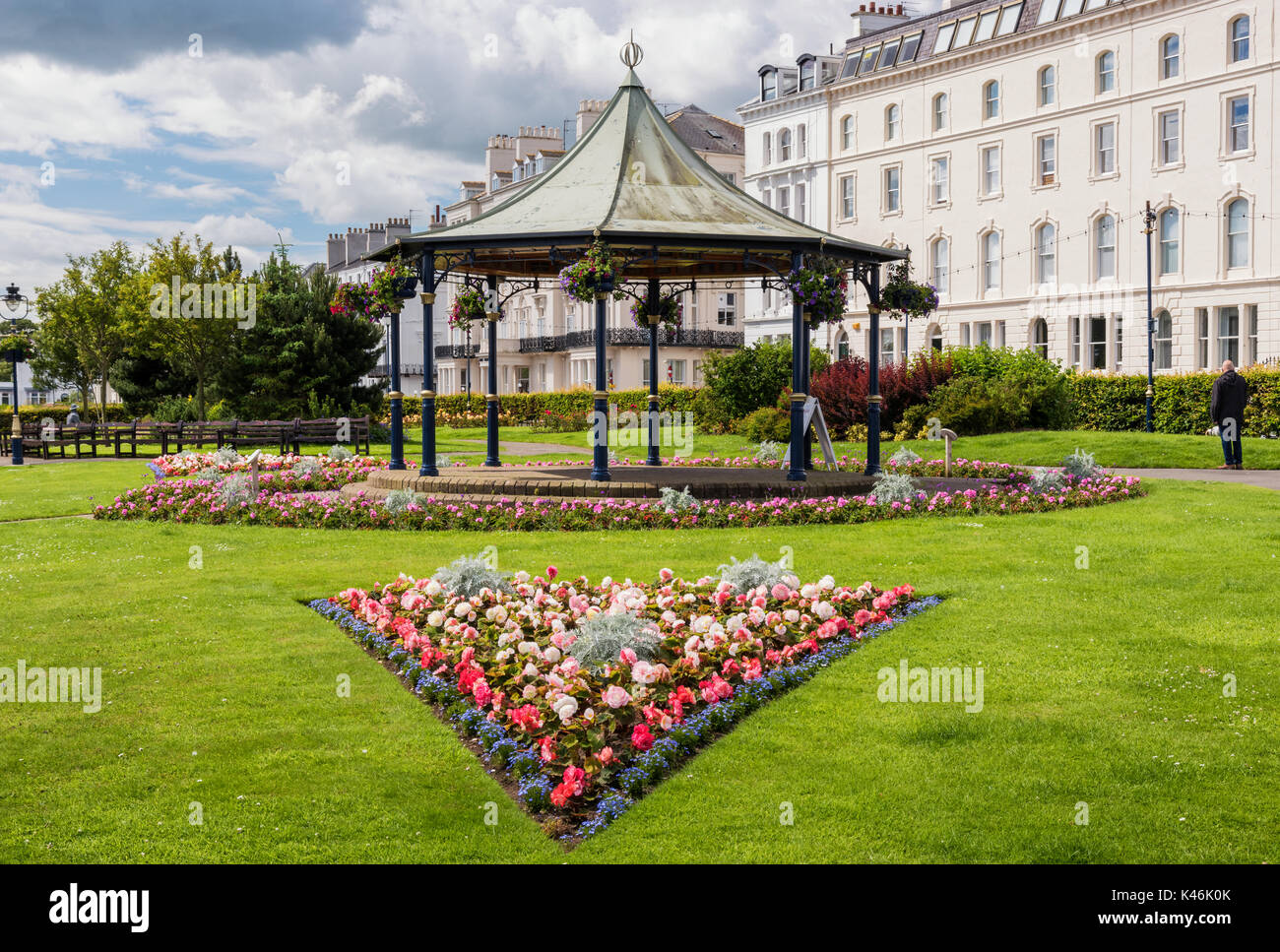 Flowers in the Cresent gardens at Filey - Stock Image