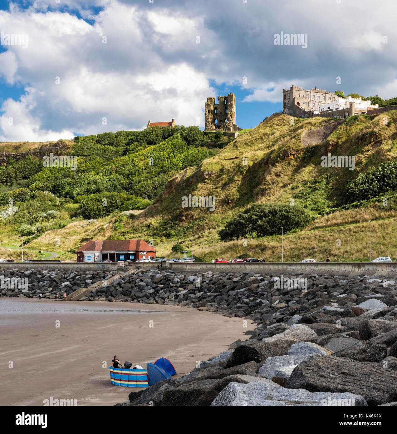 Scarborough castle from the marine drive - Stock Image