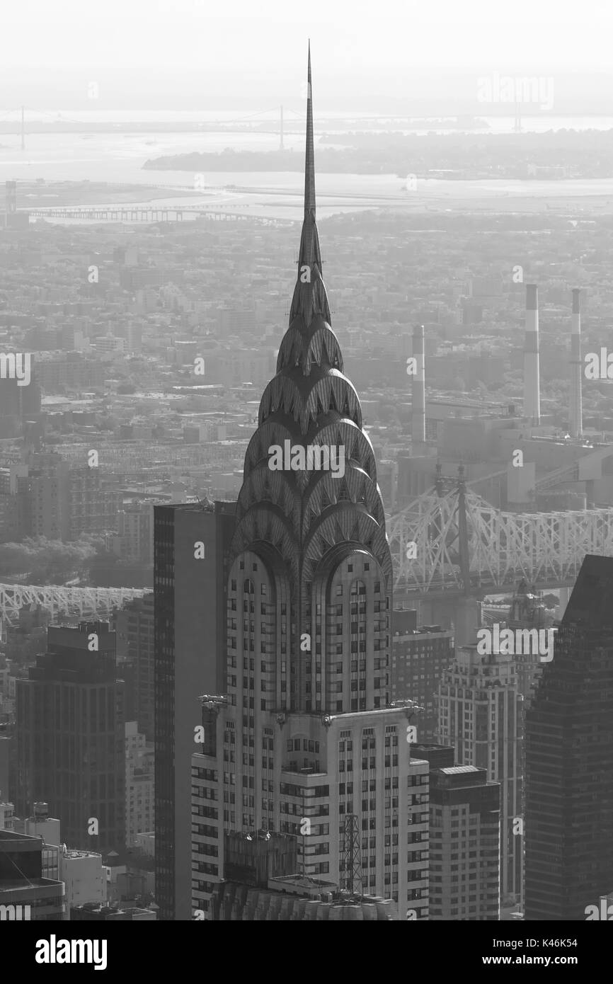 Chrysler Building top detail, aerial view in black and white in New York - Stock Image