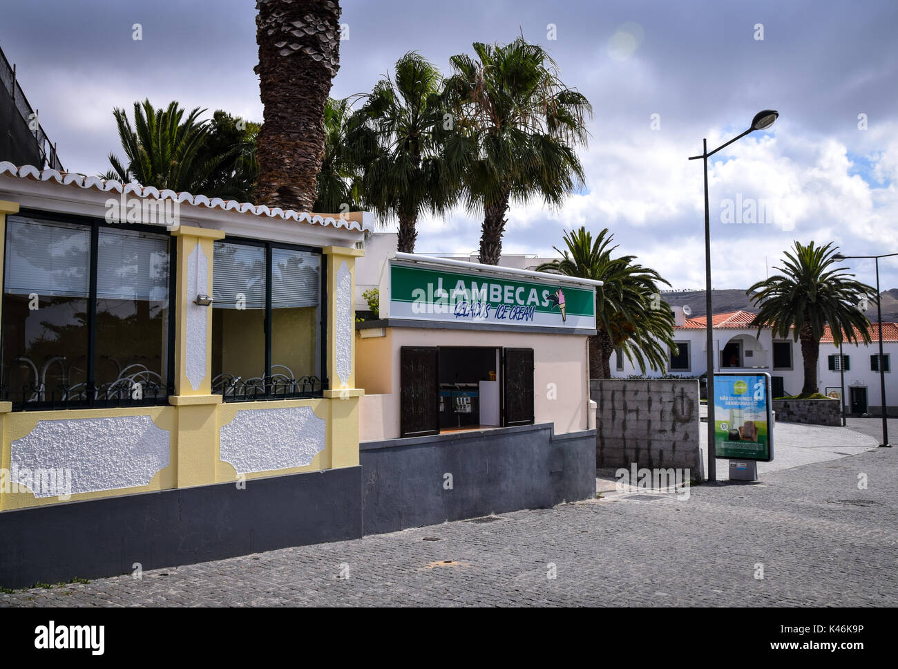 Lambecas ice cream parlour in the town square in Vila Baleira, Porto Santo Island, Portugal - Stock Image
