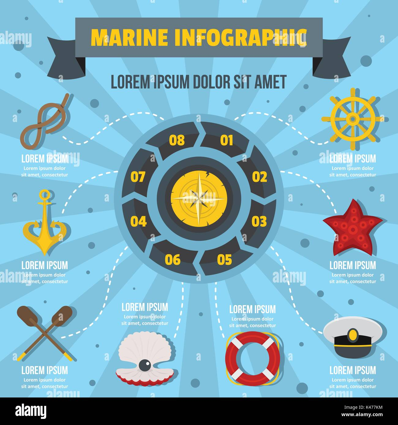 Marine infographic concept, flat style - Stock Vector