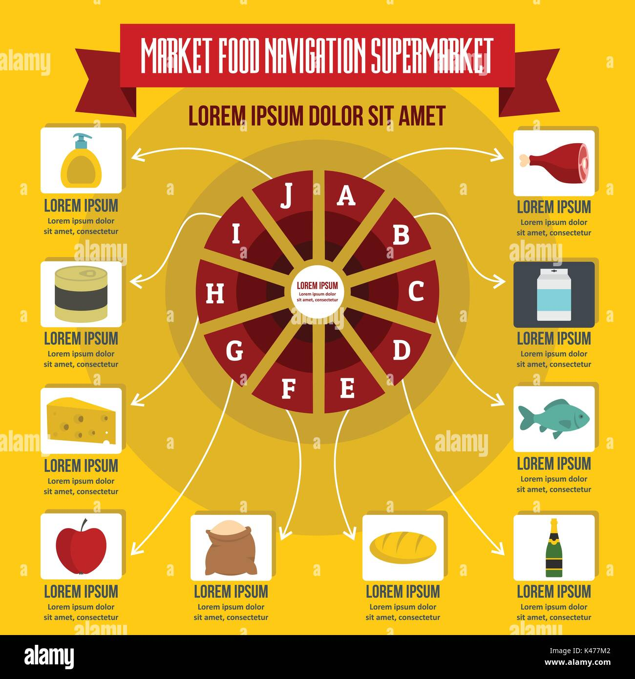 Market food navigation infographic, flat style - Stock Vector