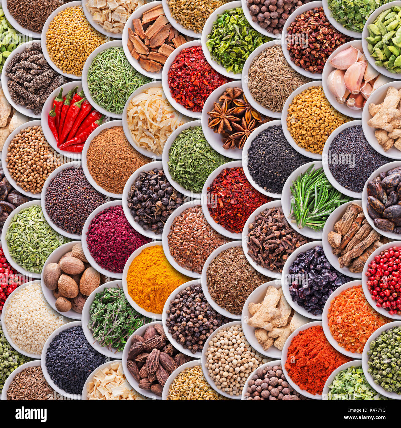 Seamless texture with spices and herbs - Stock Image