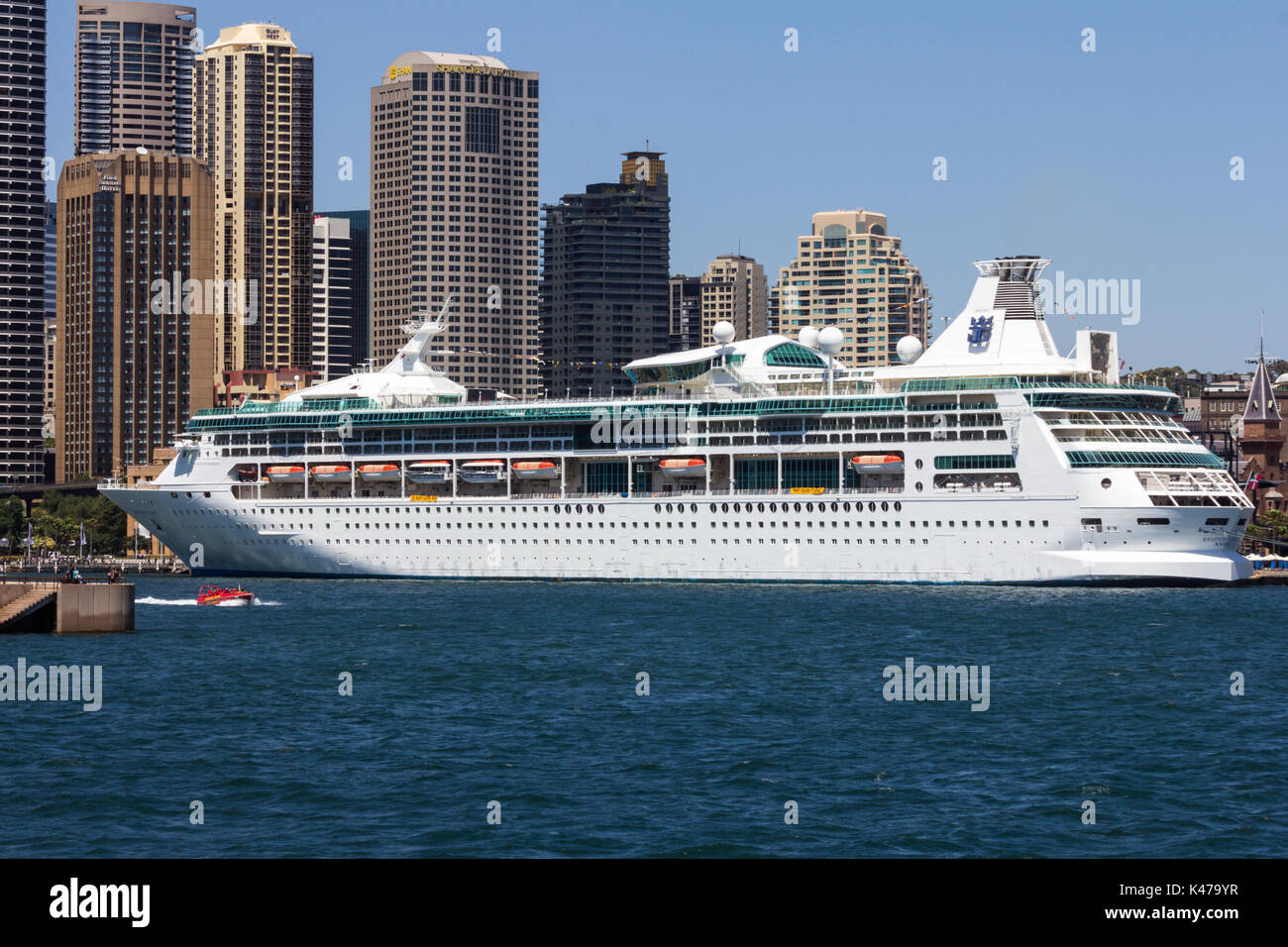 The Royal Caribbean International cruise ship Rhapsody of the Seas moored in Sydney harbour, NSW, New South Wales, Australia - Stock Image
