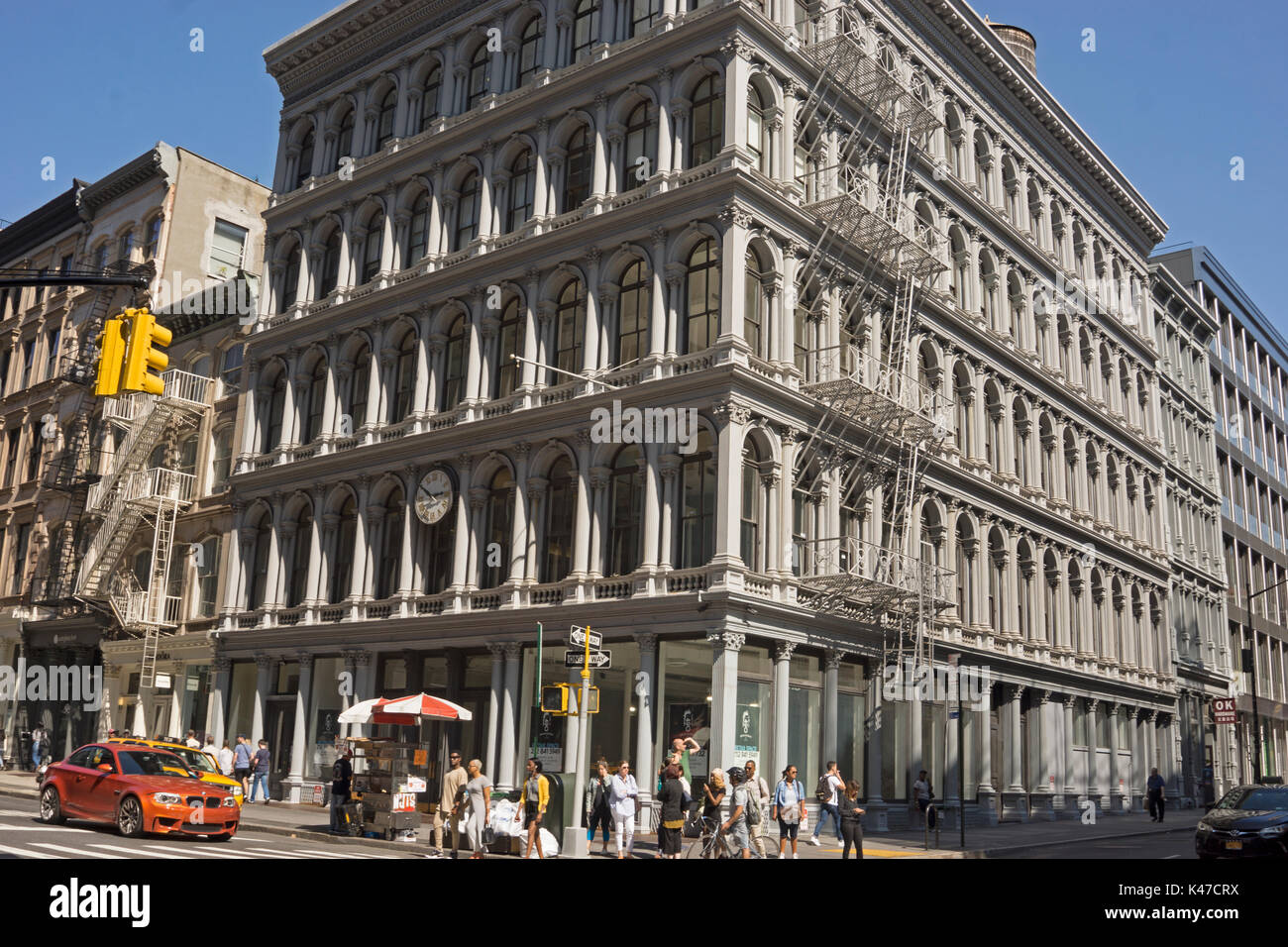The landmarked, cast iron building on Broadway at Broome Street in Manhattan was designed in 1857 as a store for E.V. Haughwout & Co. - Stock Image