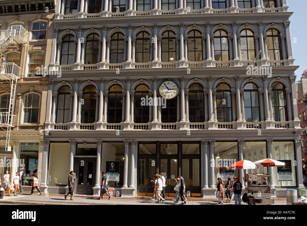The landmarked, cast iron building on Broadway at Broome Street in Manhattan was designed in 1857 as a store for E.V. Haughwout & Co. Abraham Lincoln' - Stock Image