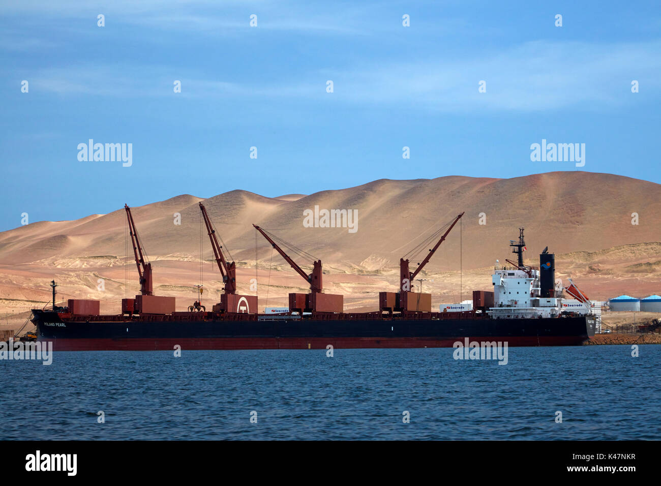 Ship docked at Puerto San Martin, Paracas Peninsula, Paracas National Reserve, Pisco Province, Ica Region, Peru, South America - Stock Image