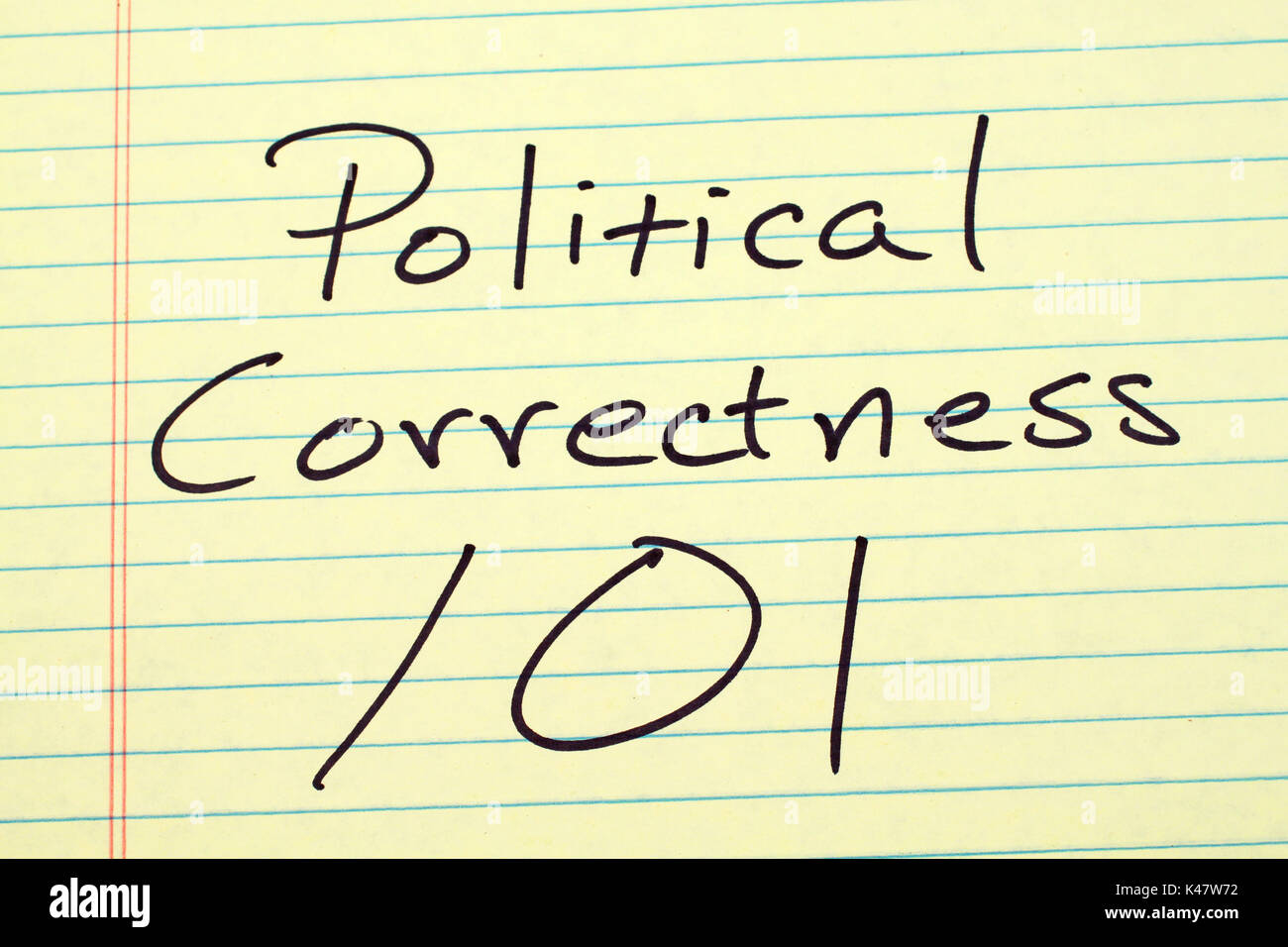 The words 'Political Correctness 101' on a yellow legal pad - Stock Image