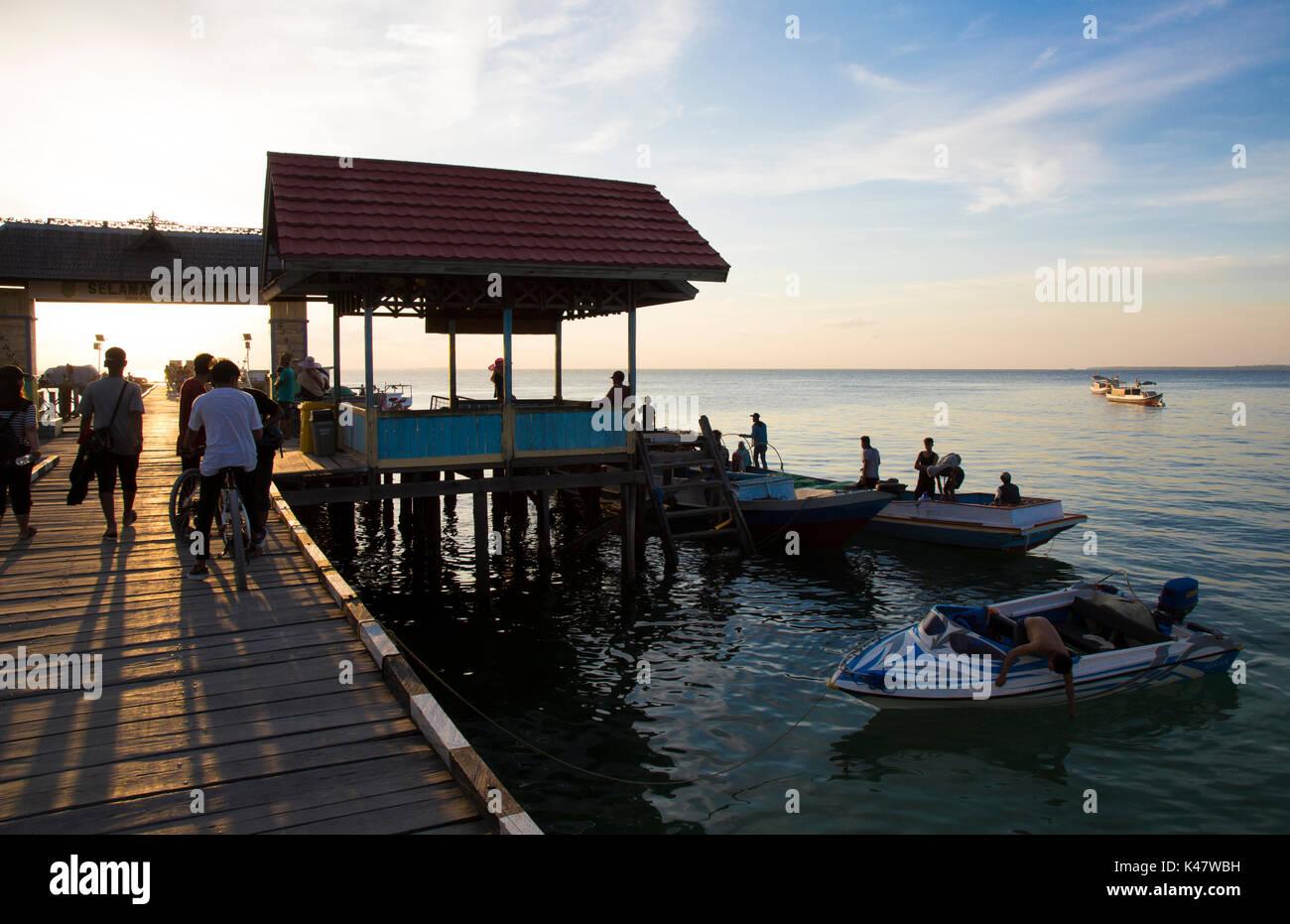 Main pier on Derawan Island, Kalimantan - Stock Image