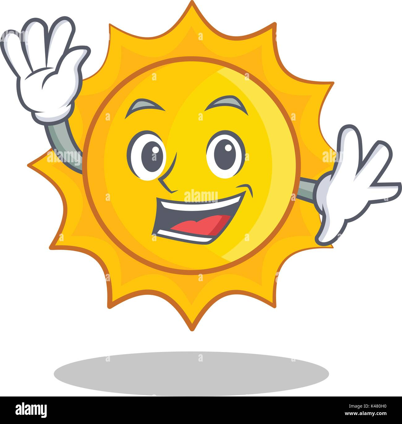 Waving cute sun character cartoon - Stock Vector