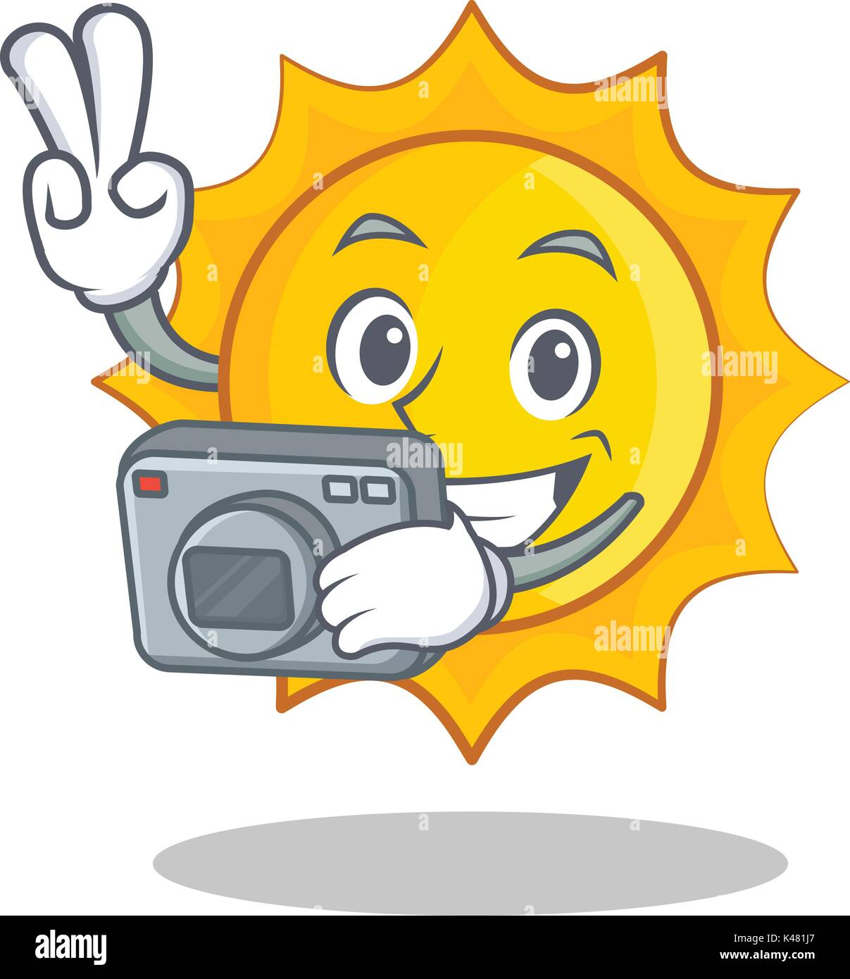 Photography cute sun character cartoon - Stock Vector