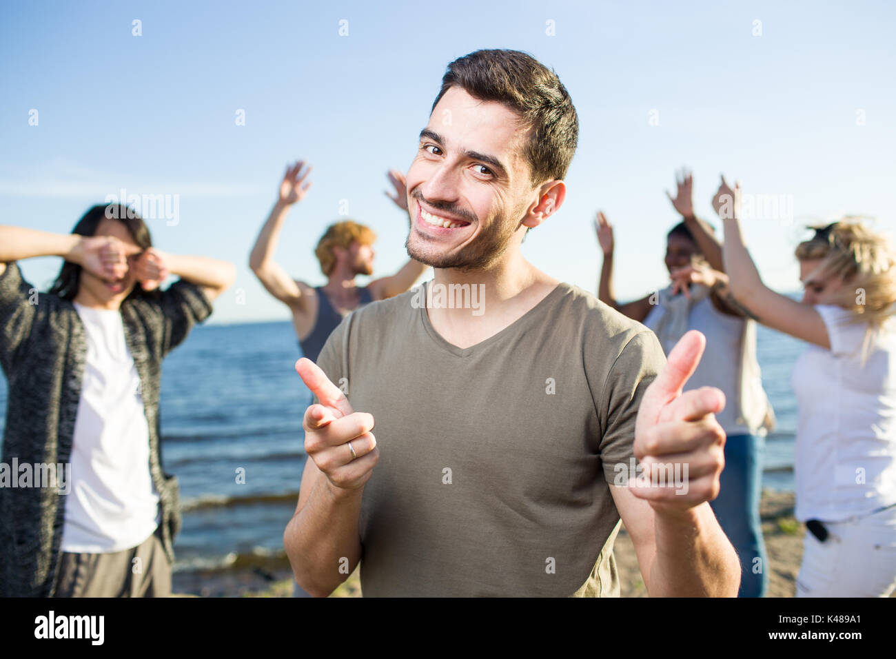 Party by seaside - Stock Image