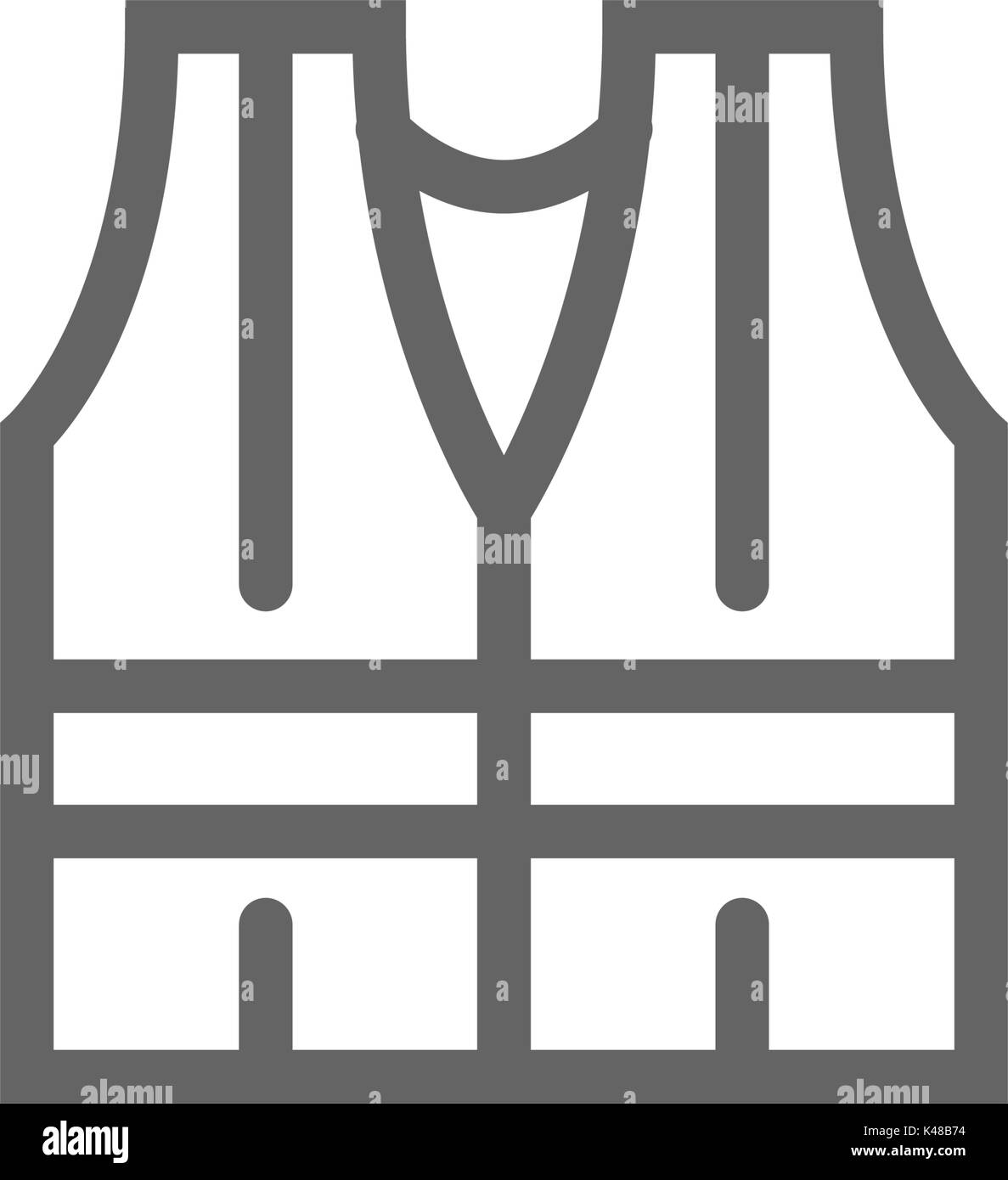 Simple safety vest icon. Symbol and sign vector illustration design. Editable Stroke. Isolated on white background - Stock Image