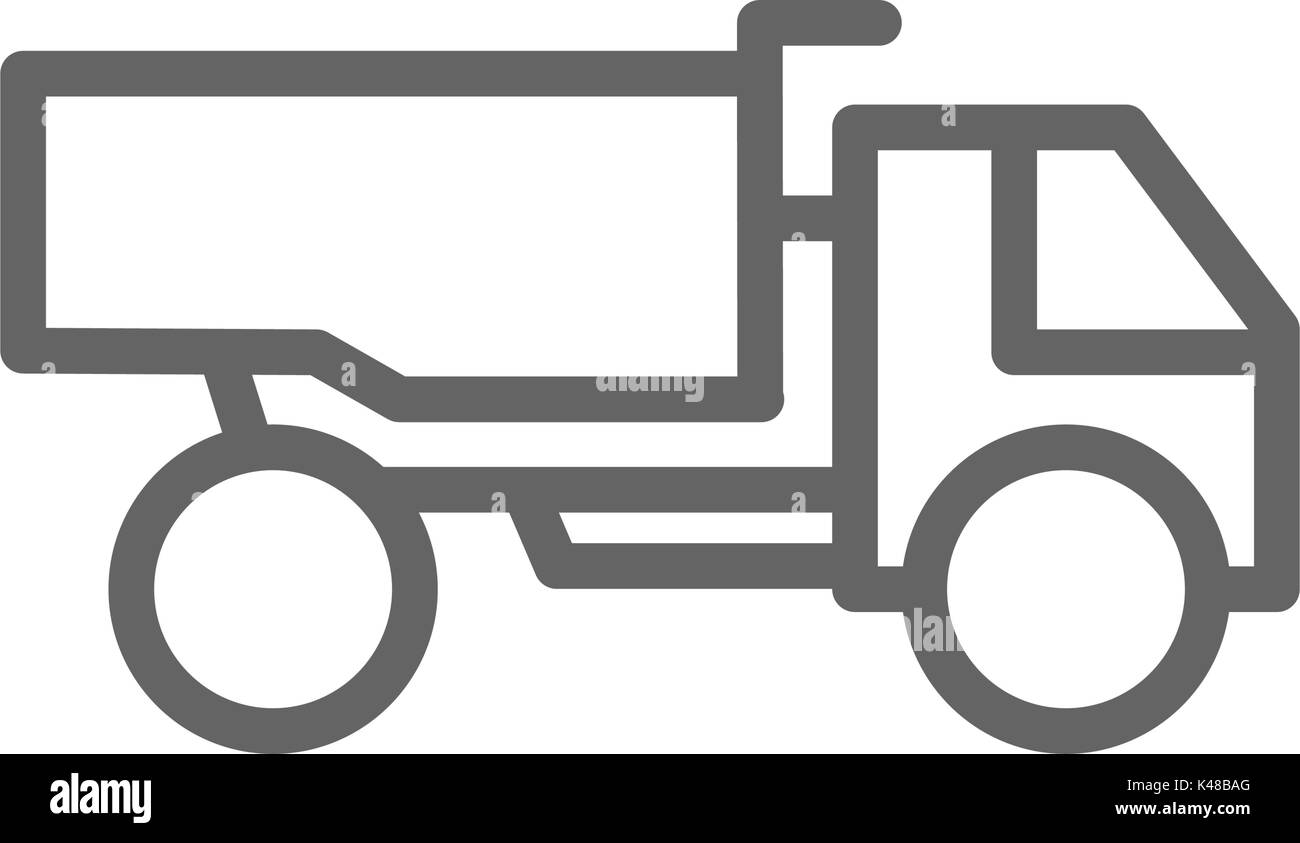 Simple heavy truck line icon. Symbol and sign vector illustration design. Editable Stroke. Isolated on white background - Stock Vector