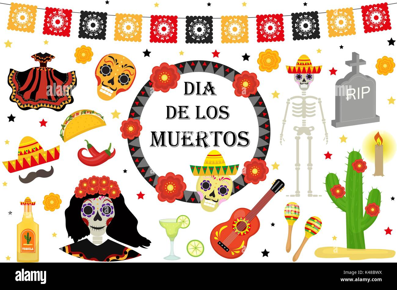 Day Of The Dead Mexican Holiday Icons Flat Style Dia De Los Muertos Collection Objects Design Elements With Sugar Skull Skeleton Grave