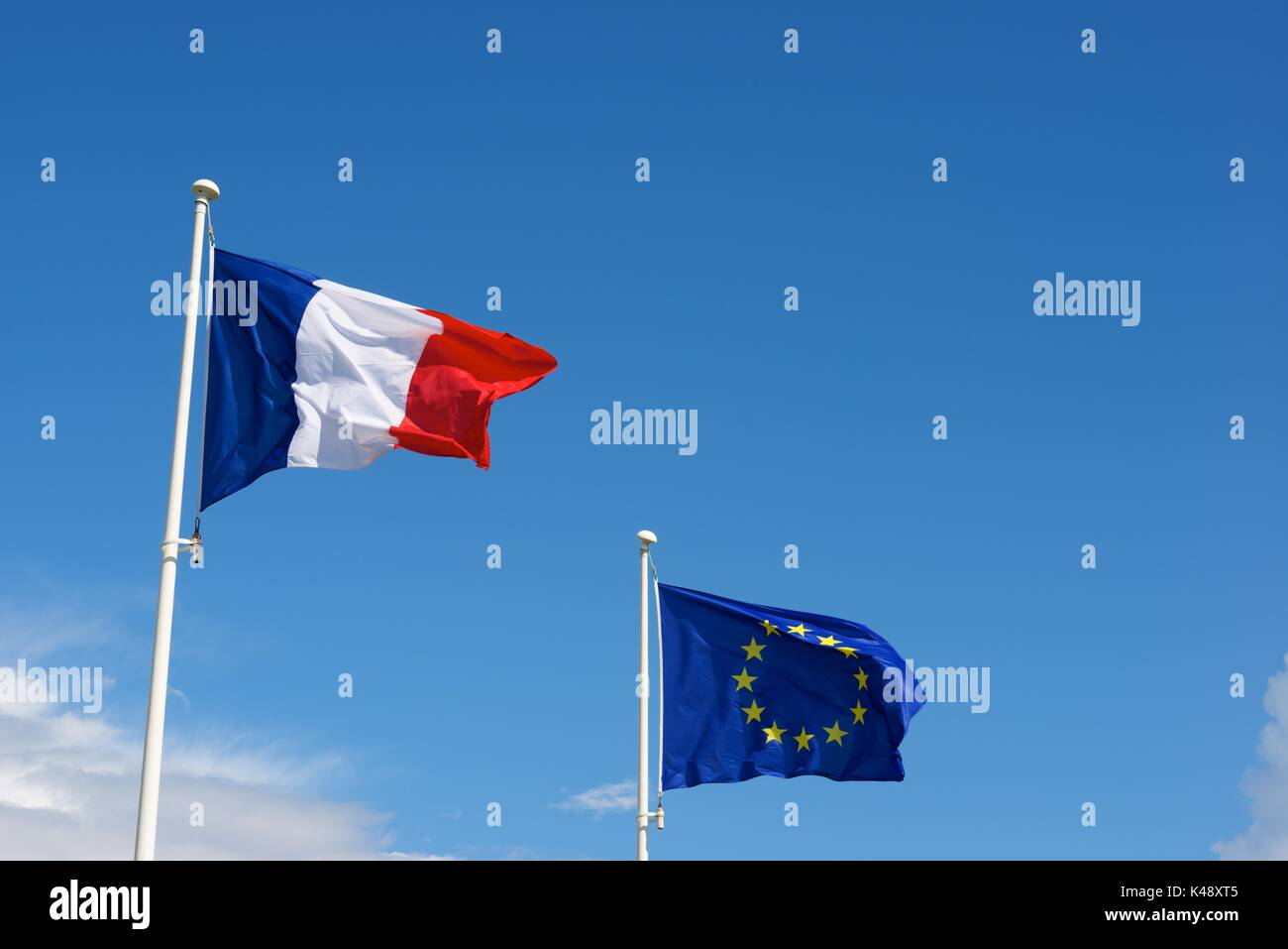 Close-up of the flags of the European Union and France. - Stock Image