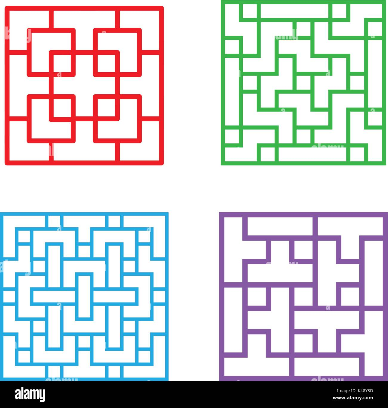 Set of square Chinese pattern window frame, vector Stock Vector Art ...