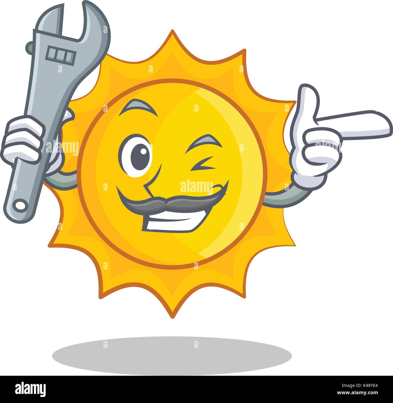 Mechanic cute sun character cartoon - Stock Vector