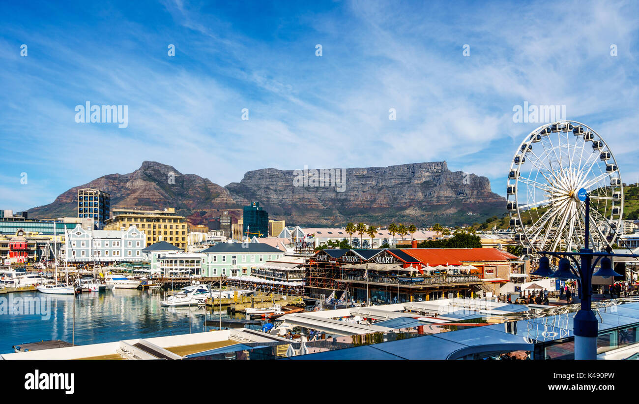 Table Mountain viewed from the Victoria and Albert Waterfront in Cape Town South Africa - Stock Image