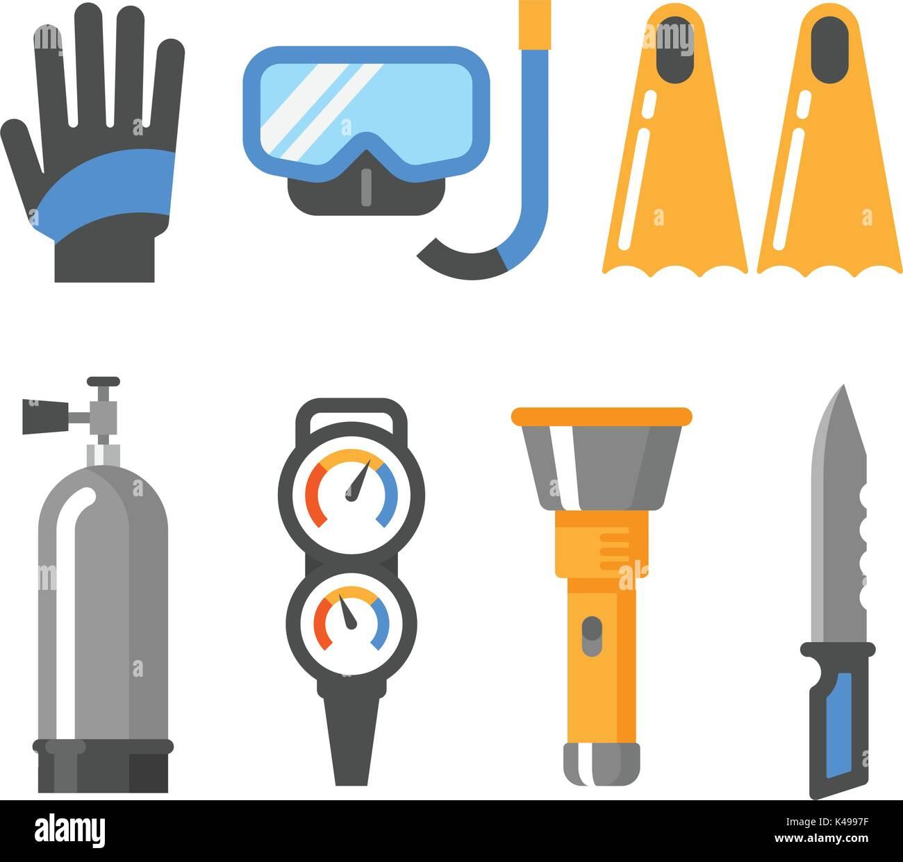 Scuba diving gear flat icon set. Gloves, mask, snorkel, fins, air tank, pressure gauge, flashlight, knife. - Stock Vector