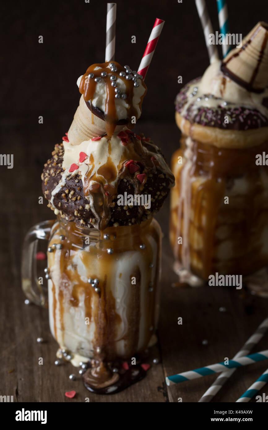 Freakshake - Milkshake with lots of caramel and calories - Stock Image