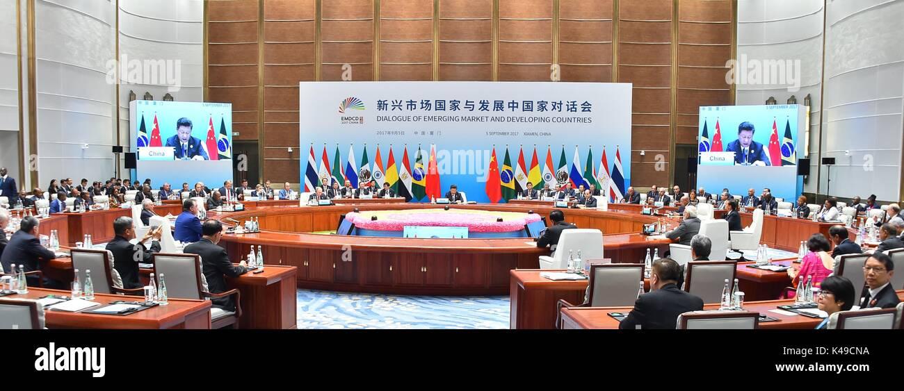 Xiamen, China - 5 September 2017 - Egyptian President Sisi and Chinese President Xi Jinping speak at the Brics Summit Stock Photo