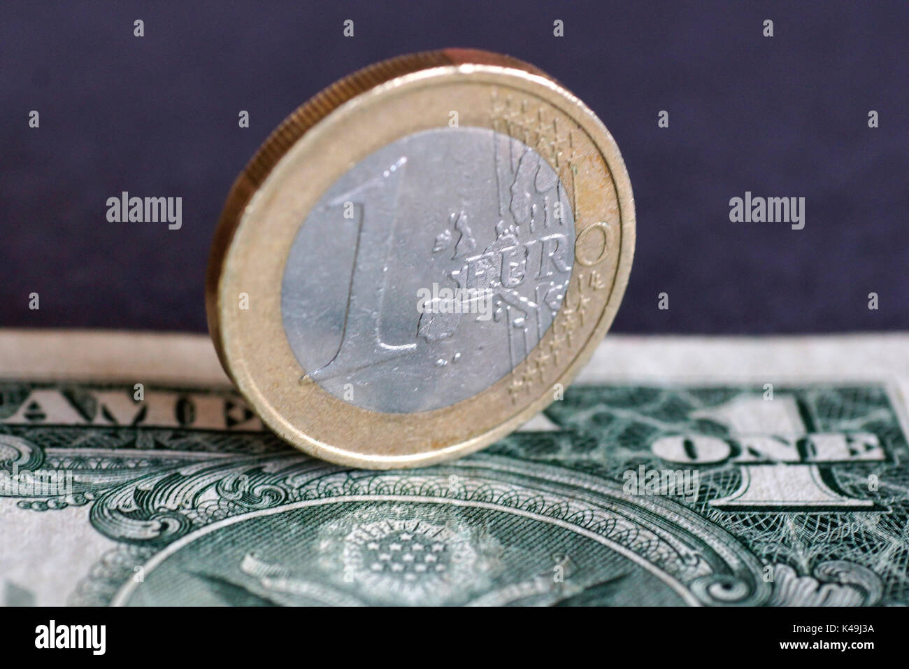 1 Euro And 1 Dollar - Stock Image