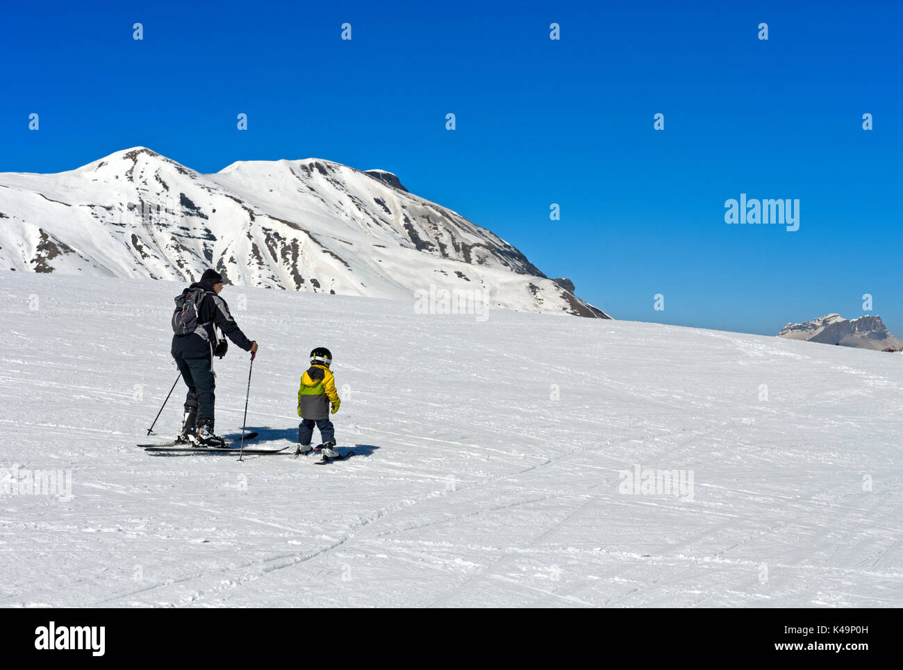 First Steps On Skis, Skiing Area Les Contamines, Montjoie, Haute, Savoie, France Stock Photo