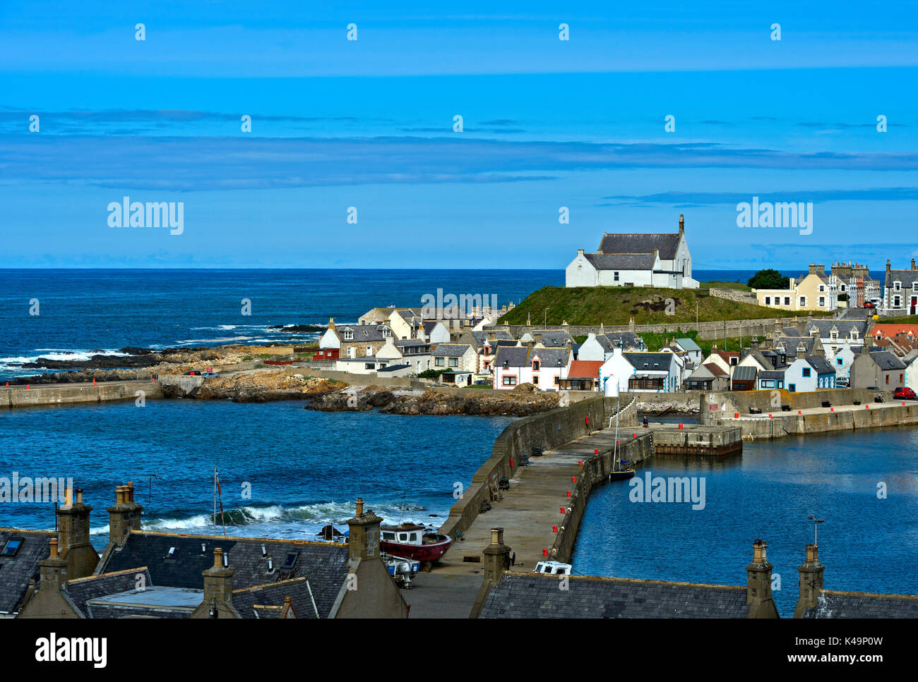 Fishing Village Findochty At The Moray Firth, Scotland, United Kingfom - Stock Image