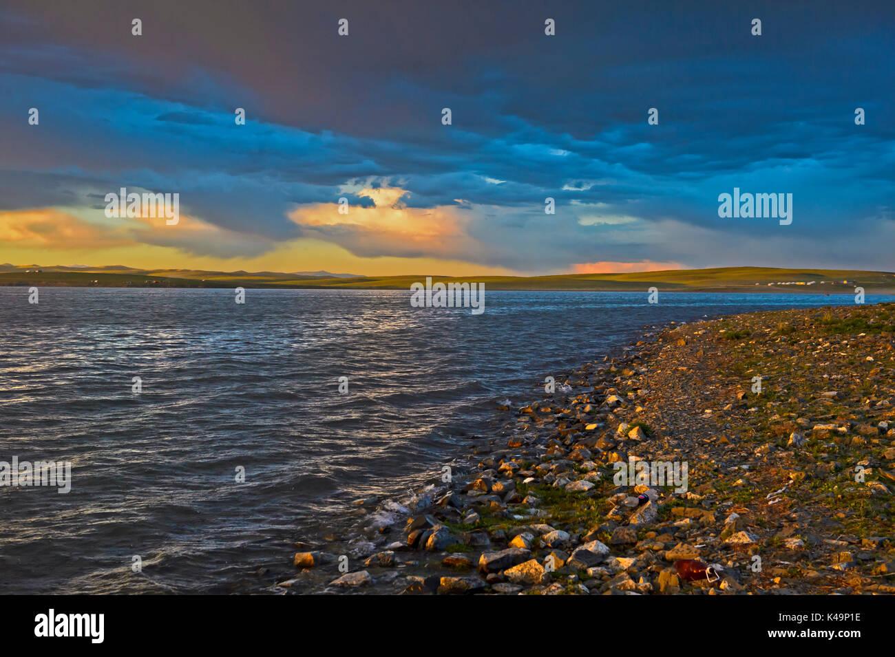 Sunset At Lake Ogii Nuur, Mongolia - Stock Image
