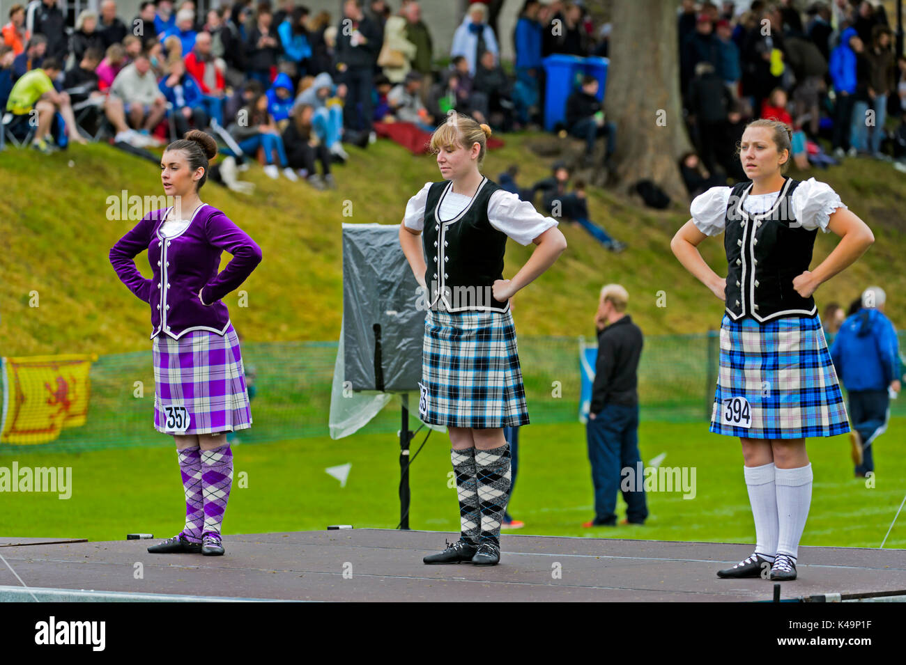 Girls In Kilted Skirts Performing A Highland Dance, Ceres, Scotland, United Kingdom - Stock Image