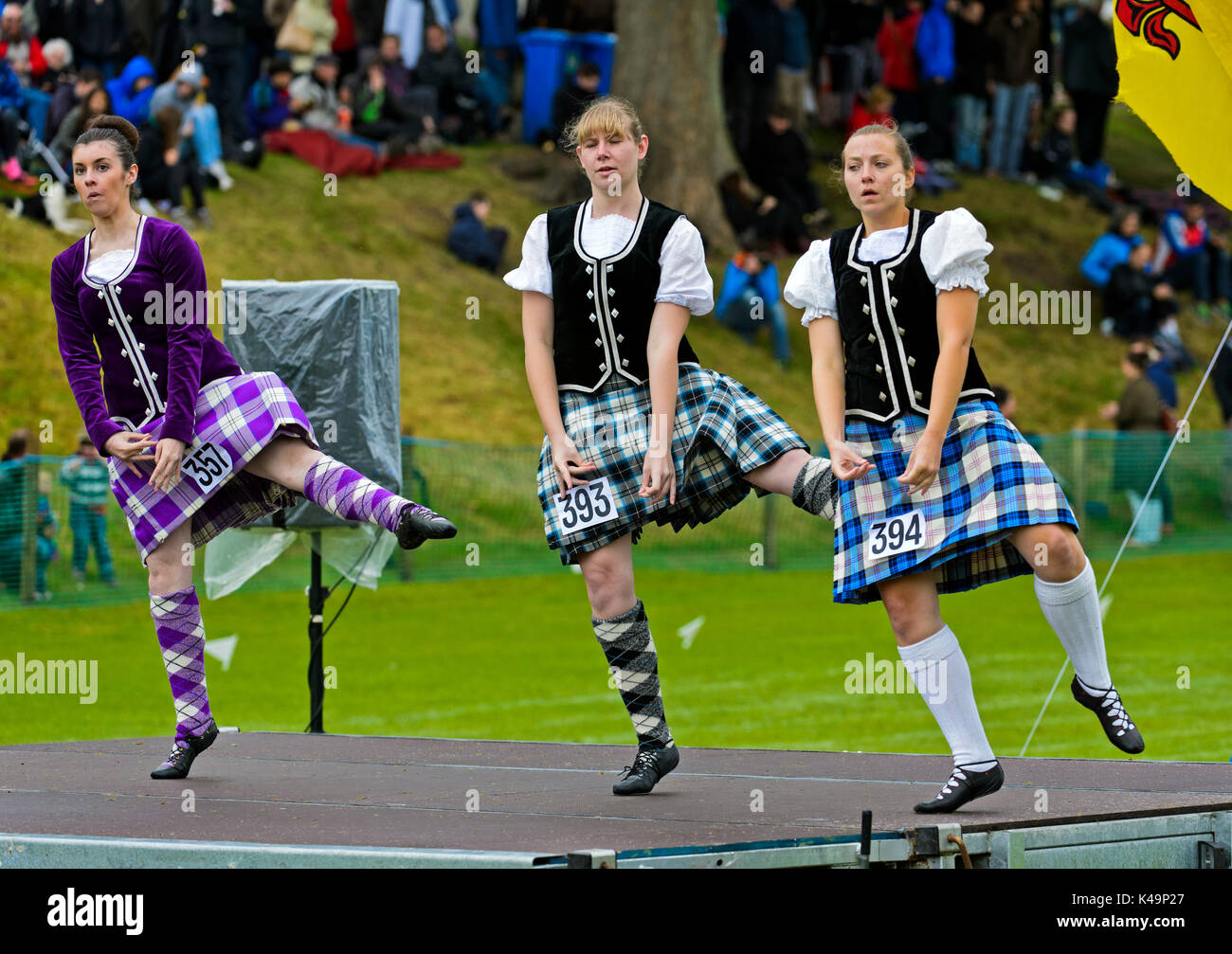Girls In Kilted Skirts Performing At The Highland Dancing Competition At The Ceres Highland Games, Scotland, Great Stock Photo