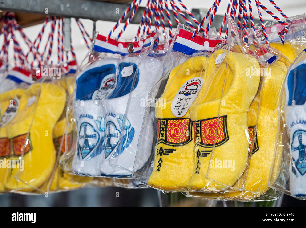Synthetic Dutch Clogs As Tourist Souvenirs, Netherlands - Stock Image