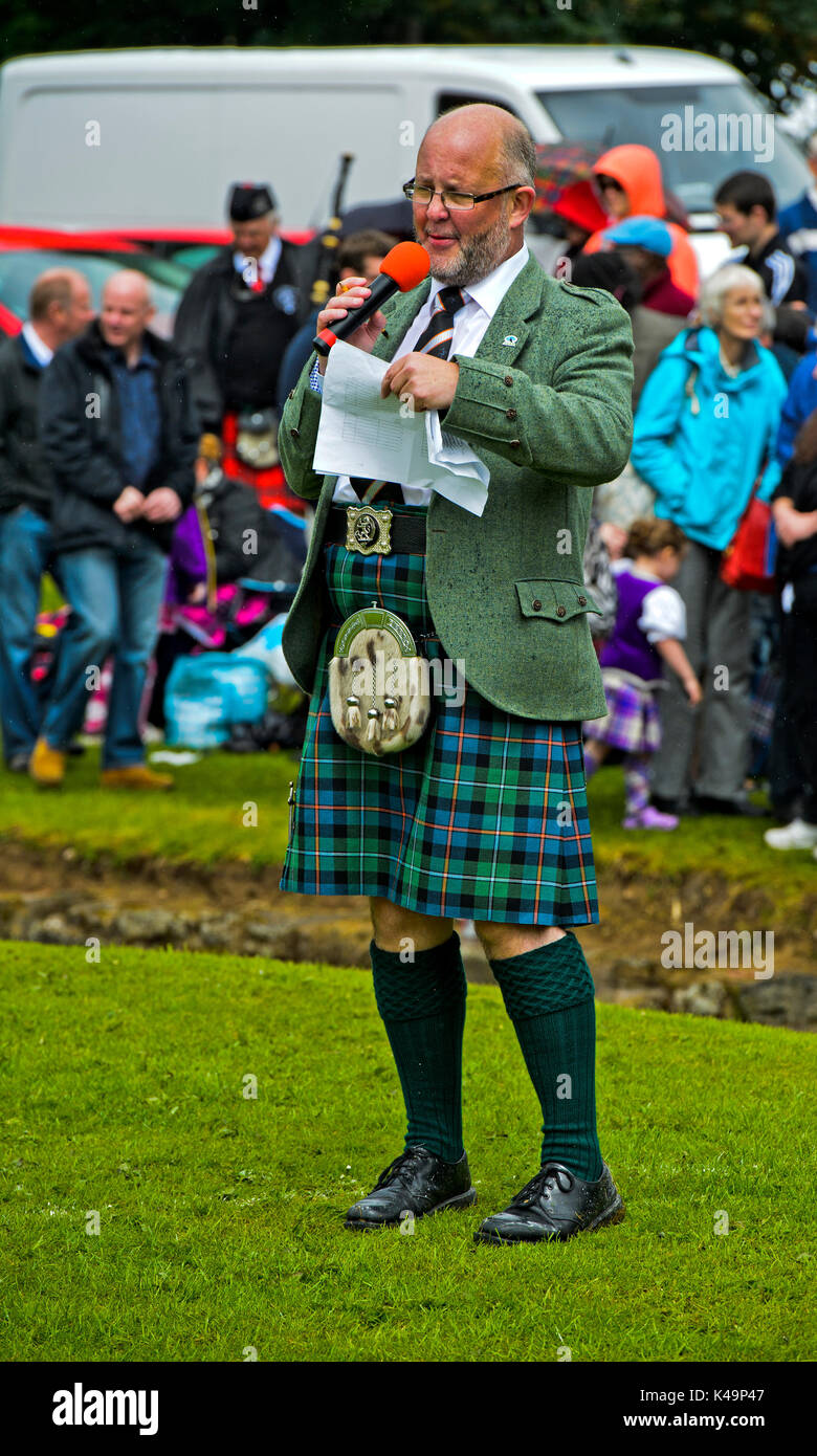 Scottish Man Wearing A Kilt And A Dress Sporran, Speaker Of The Ceres Highland Games, Ceres, Scotland, Uk Stock Photo