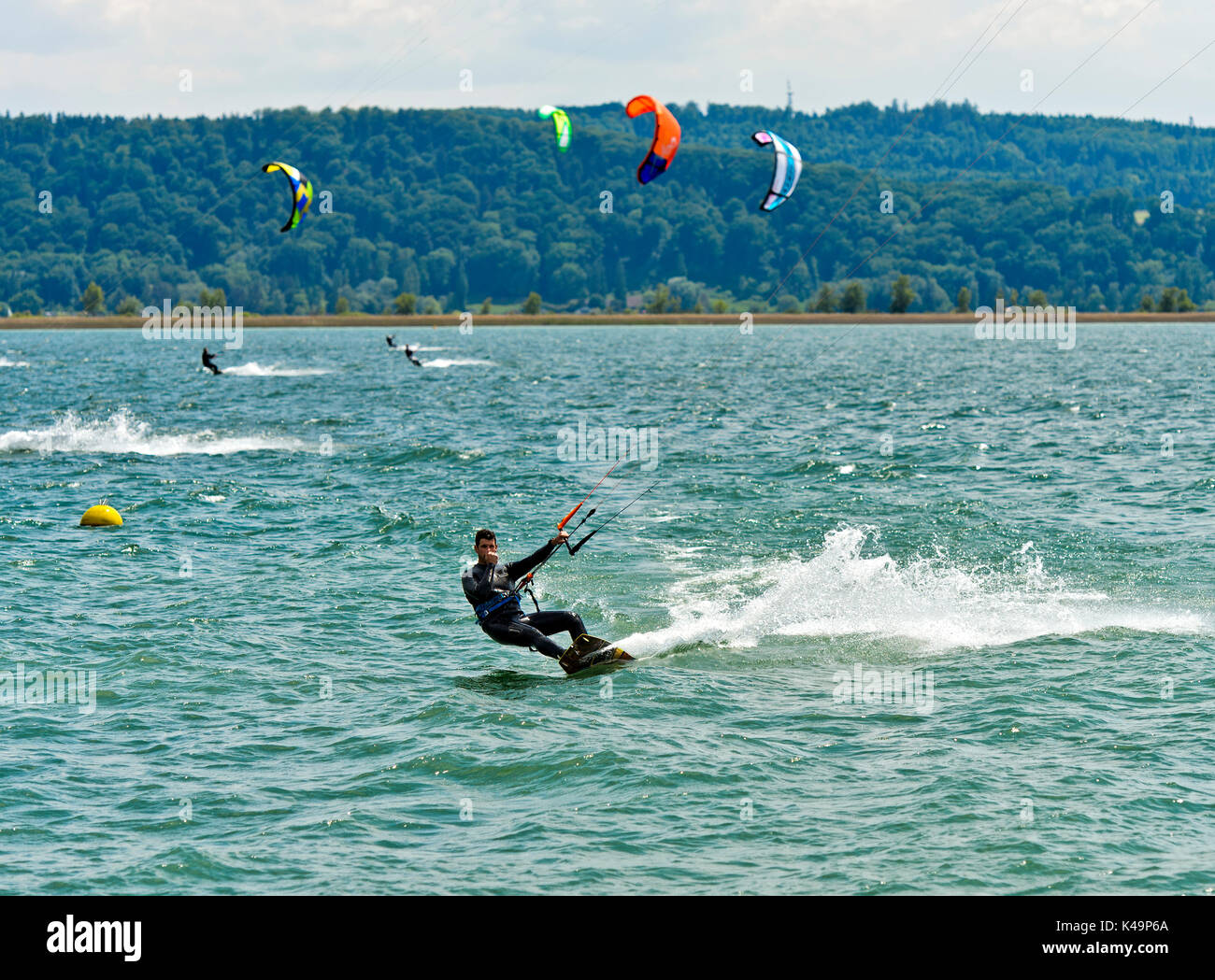 Kitesurfer On Lake Bienne, La Neuville, Switzerland - Stock Image