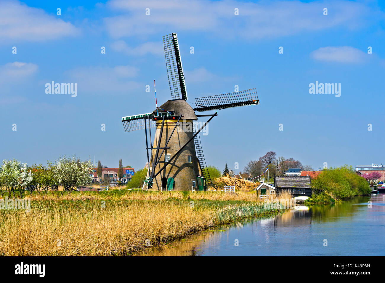 Dutch Windmill, Unesco Wolrd Heritage Site Kinderdijk, South Holland, Netherlands - Stock Image