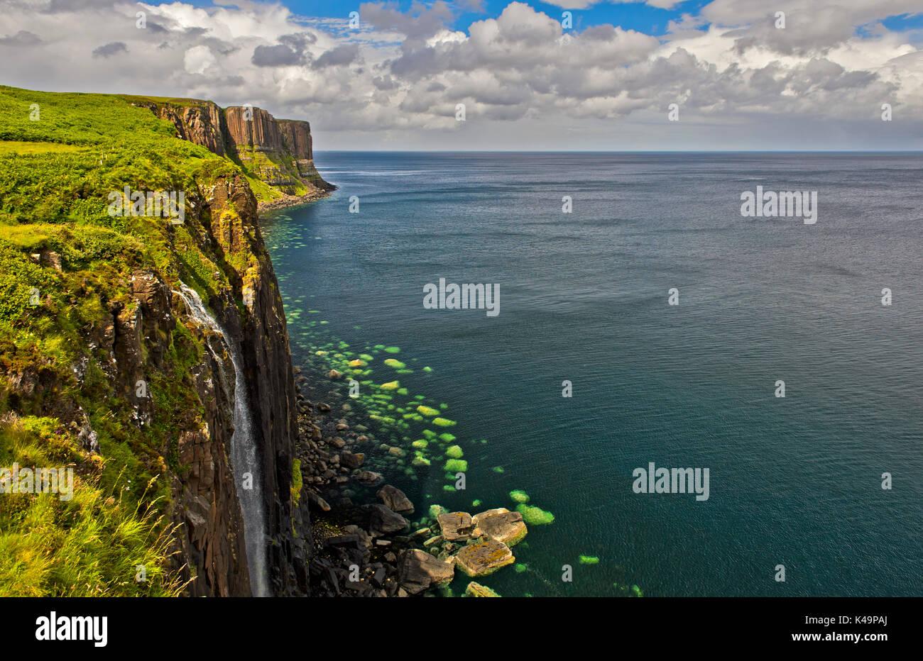 Kilt Rock Basalt Cliffs With Mealt Falls Near Staffin, Isle Of Skye, Scotland, Great Britain - Stock Image