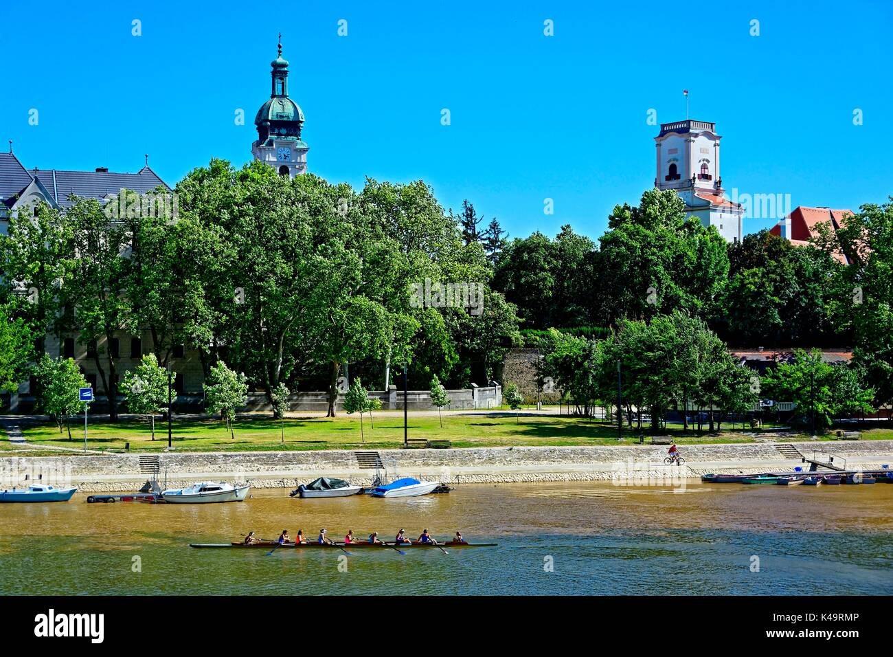 Aft Rowing Boat Training On The Moson Danube In Gyor Stock Photo