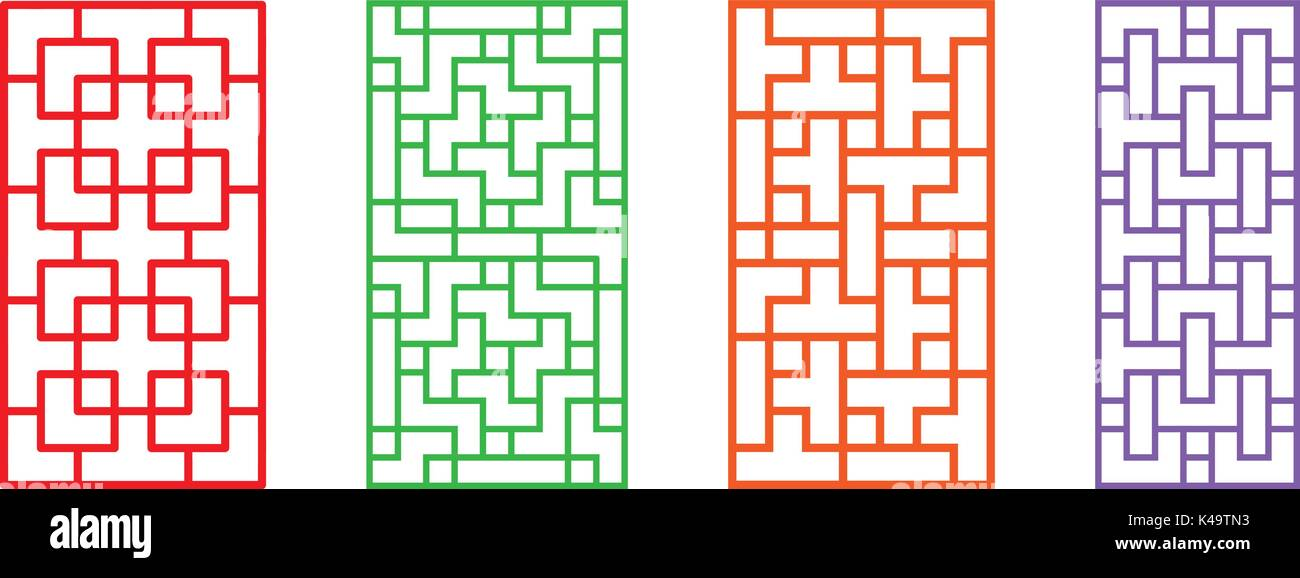 Set of rectangle Chinese pattern window frame, vector Stock Vector ...