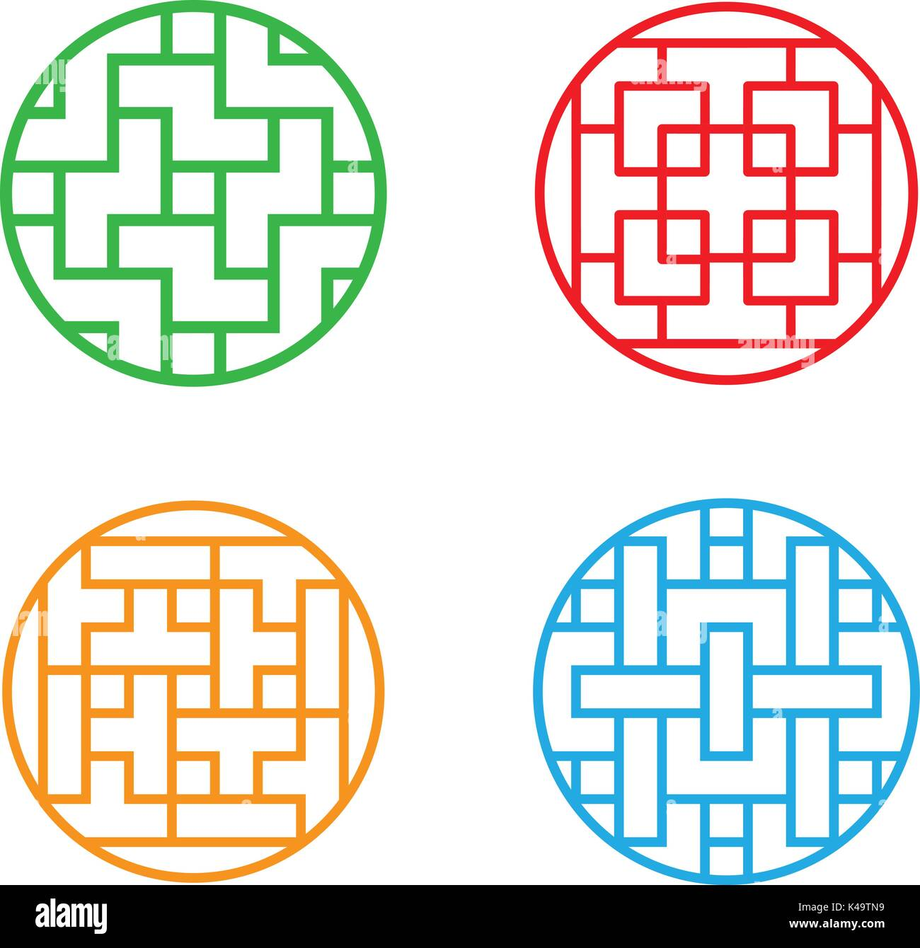 Set of Circle Korean pattern window frame, vector Stock Vector Art ...