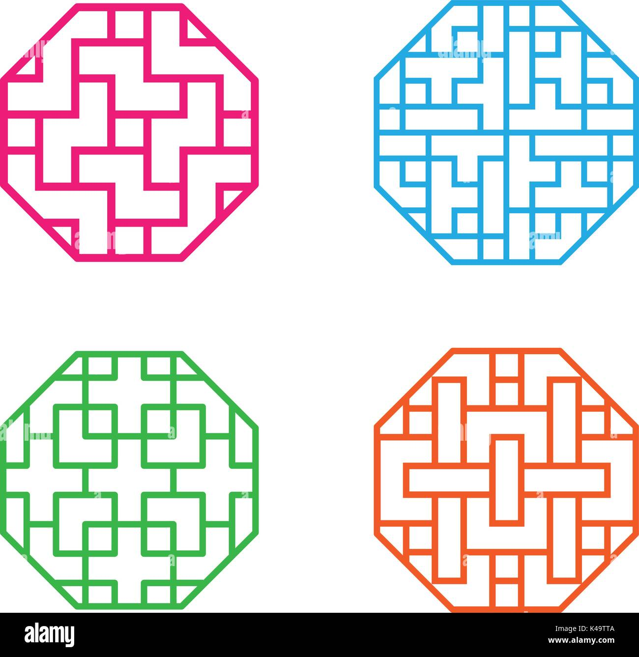 Set of octagon Korean pattern window frame, vector Stock Vector Art ...